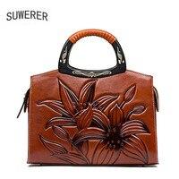 Китайский ветер слой кожи печатных рук сумку Винтаж сумка в этническом стиле женская сумка Crossbody сумка