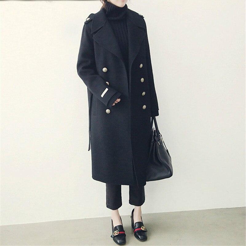 Manteaux De Streetwear 2019 Laine Mode Style Coréenne Femelle P; Femmes Long Manteau Mince Hiver Taille Lus Élégant qnfnawBT