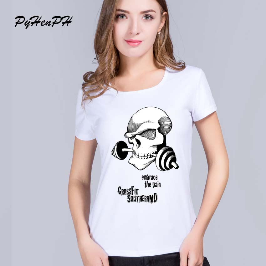PyHenPH Crossfit Skull Printed T shirt women Swag O Neck Tee shirt femme Short Sleeve tops