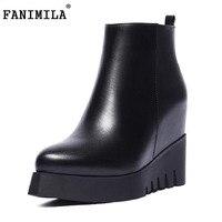 Women Real Natrual Genuine Leather High Heel Ankle Boots Half Short Feminina Botas Winter Boot Footwear