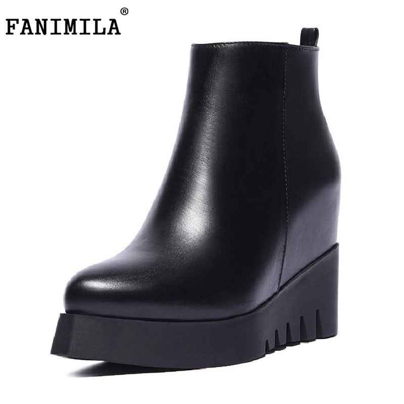 FANIMILA women real natrual genuine leather high heel  boots half short female botas winter boot footwear shoes R7249 size 34-39