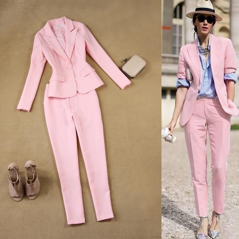 Rosa Frauen Anzüge Eine Taste Jacke Langarm Damen Slim Fit Hosen Anzug Für Geschäfts Partei B254