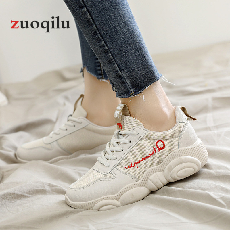 Women Casual Shoes 2019 Spring Mesh Platform Women Shoes Lace-Up Breathable Shoes Woman White Zapatillas Mujer 3