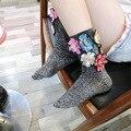 Tailândia Tide Lantejoulas Flor Meias de Seda Brilhante Glitter Colorido Meias Feitas À Mão Das Mulheres