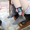 Thailand Tide Flower Sequins Bright Silk Socks Colorful Glitter Handmade Socks Women