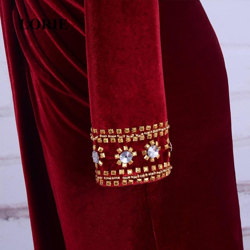 LORIE Burgundska večernja haljina Velvet V-Neck Beaded Zlatni kamen - Haljina za posebne prigode - Foto 5