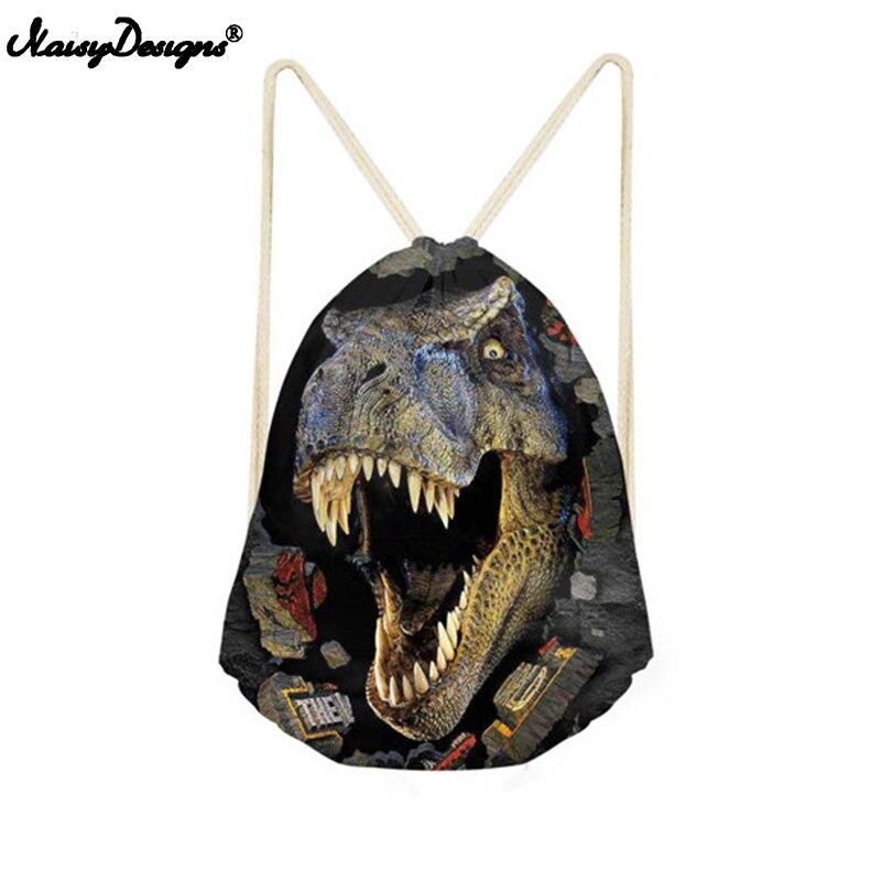 NoisyDesigns Drawstring Bag Kids Dinosaur Bags 3D Animal Printing Men Backpack String Shoulder Bags For School Boys Casual Bags