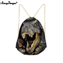 NoisyDesigns Drawstring Bag Kids Dinosaur Bags 3D Animal Printing Men Backpack String Shoulder Bags for School Boys Casual Bags(China)