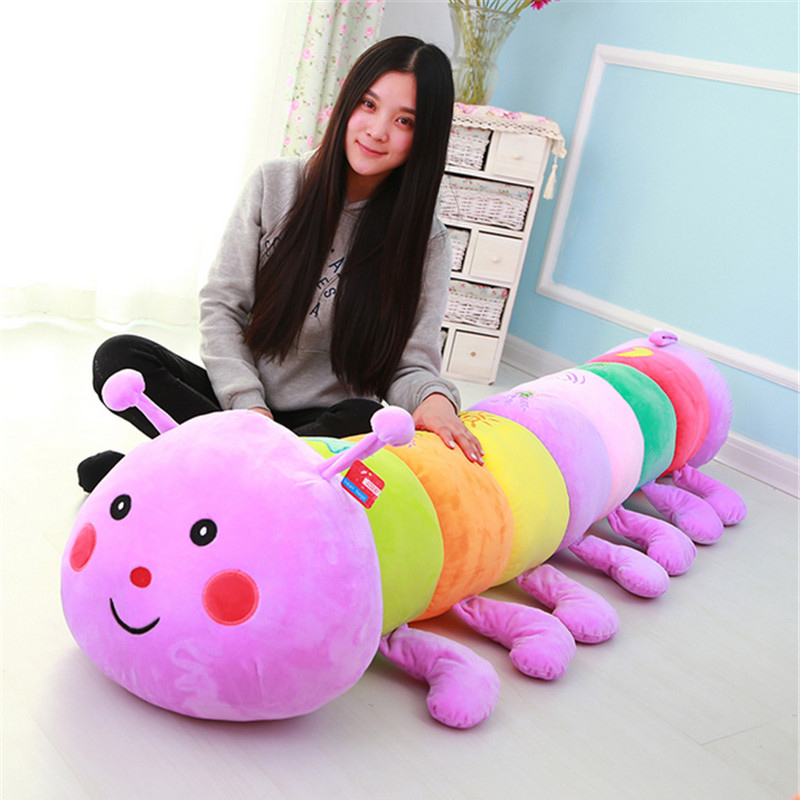 Fancytrader Giant Soft Caterpillar Sleeping Pillow Doll Huge Stuffed Colorful Anime Toys for Children 3 Sizes fancytrader new style giant plush stuffed kids toys lovely rubber duck 39 100cm yellow rubber duck free shipping ft90122