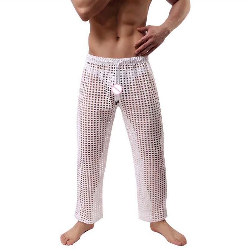 Men Sexy See Hollow Out Through Lounge Pants Brand Fashion 2019 New Products Listed Fishnet Sheer Long Pajama Bottoms