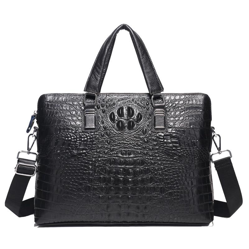 Brand Men Handbags Genuine Leather Men's Briefcase Men Shoulder Messenger Bag Crocodile Cow Leather Business 14 inch Laptop Bags
