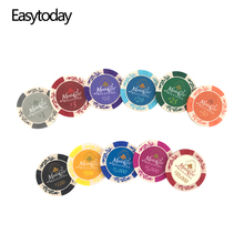 Easytoday 25PCS/Set Clay Poker Chips Set Embedded iron Coins Baccarat Texas Holdem Playing 11 Colors Face Value