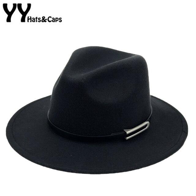 9b0fcb034f30 € 8.27 31% de DESCUENTO|Ala ancha otoño sombrero gorras mujer hombre de  moda sombrero de Jazz invierno Sombrero de Panamá Vintage sombreros de los  ...