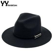 Brede Rand Herfst Trilby Caps Vrouwelijke Mannelijke Mode Top Hat Jazz Cap Winter Panamahoed Vintage Fedora Mannen Mafia Hoed Vilt YY17294