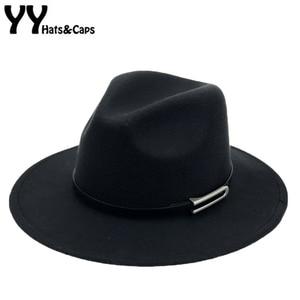 Image 1 - Brede Rand Herfst Trilby Caps Vrouwelijke Mannelijke Mode Top Hat Jazz Cap Winter Panamahoed Vintage Fedora Mannen Mafia Hoed Vilt YY17294