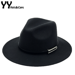 Image 1 - Wide Brim Autumn Trilby Caps Female Male Fashion Top Hat Jazz Cap Winter Panama Hat Vintage Fedoras Men Mafia Hat Felt YY17294