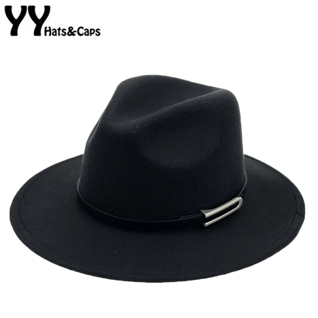 34bd463166e Wide Brim Autumn Trilby Caps Female Male Fashion Top Hat Jazz Cap Winter Panama  Hat Vintage Fedoras Men Mafia Hat Felt YY17294