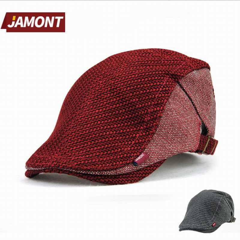 JAMONT Hat Beret-Cap French-Hat British Autumn Polyester Striped Winter Women Mens Casual