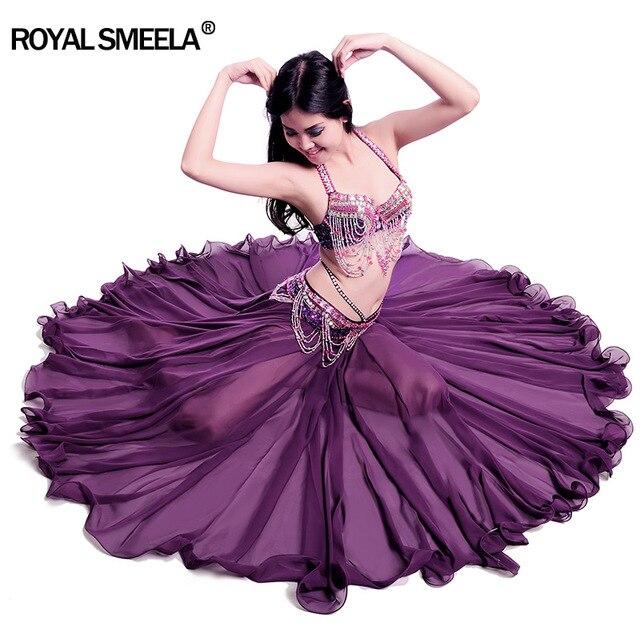 Phụ Nữ Mới Thiết Kế 720 Độ Vẫy Tay Múa Bụng Váy Bellydance Đầm Vũ Vải Thực Hành Mặc Biểu Diễn Múa Bụng Trang Phục