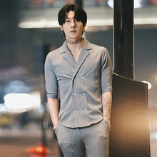 2019 shirt trend summer hair stylist handsome suit new Korean version of the self-cultivation casual men's sleeve shirt + pants pants pants summer seven sleeved suit suit male korean version of the slim fashion hair stylist trend leisure suit two piece