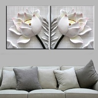 2 pcs modern 3D white lotus flowers definition pictures canvas Home Decoration living room Wall modular painting Print cuadros