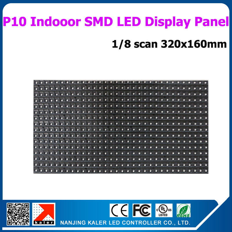 kaler <font><b>p10</b></font> <font><b>smd</b></font> <font><b>led</b></font> panel,full color indoor video scrolling message advertising <font><b>led</b></font> display 320x160mm 1/8 scan display module image