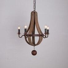 Американская архаизмы креативный шар деревянная люстра лампа сельская винтажная ностальгическая гостиная спальня Люстра Арт кафе свет