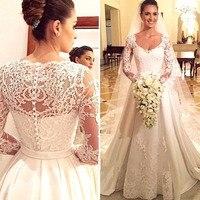 Vestidos de noiva New Design Long Wedding Dress 2020 V neck Long Sleeves Chapel Train Lace Satin A Line Wedding Gowns With Veil