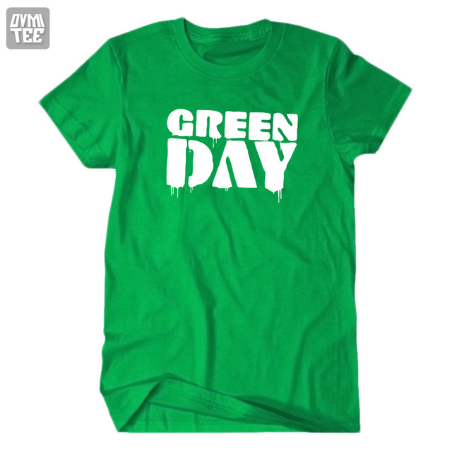 Dia verde de manga curta dos homens das mulheres t camisa Da Estrela do Rock band música rock and roll 21 armas moda homme camisa 100% algodão