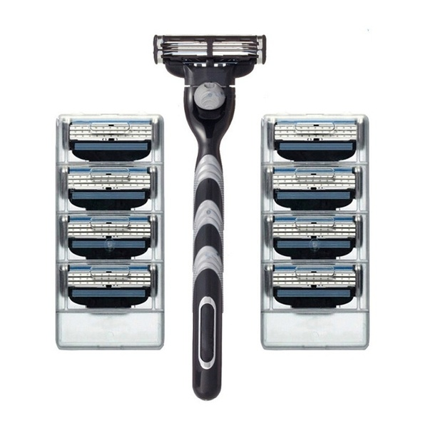 8pcs+1pcs Holder 3 Layers Razor Blade Men Face Razor Blades Replacement Blades Male Manual Razor Blades For Gillettee Mach 3