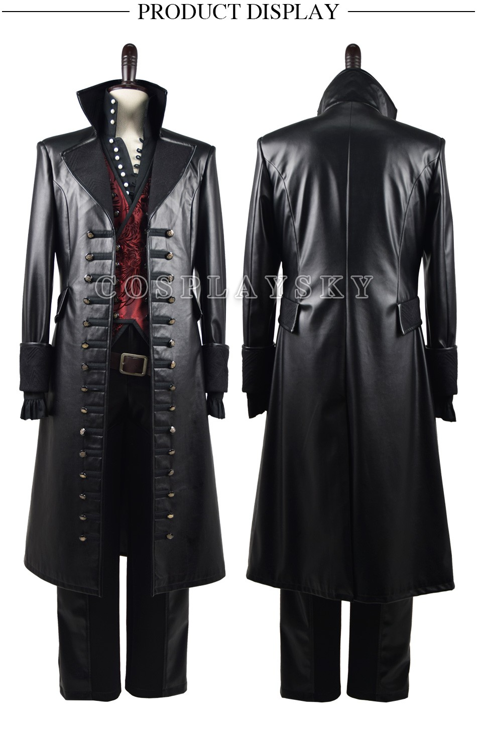 Once Upon A Time Captain Hook Cosplay Costume With Red Vest Halloween Costume for Men_01