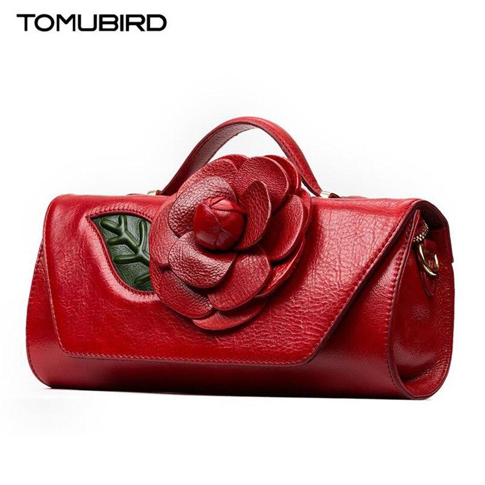 TOMUBIRD high quality Genuine Leather shoulder bags for women Handmade flower design female Party Clutch Cross Body Handbags