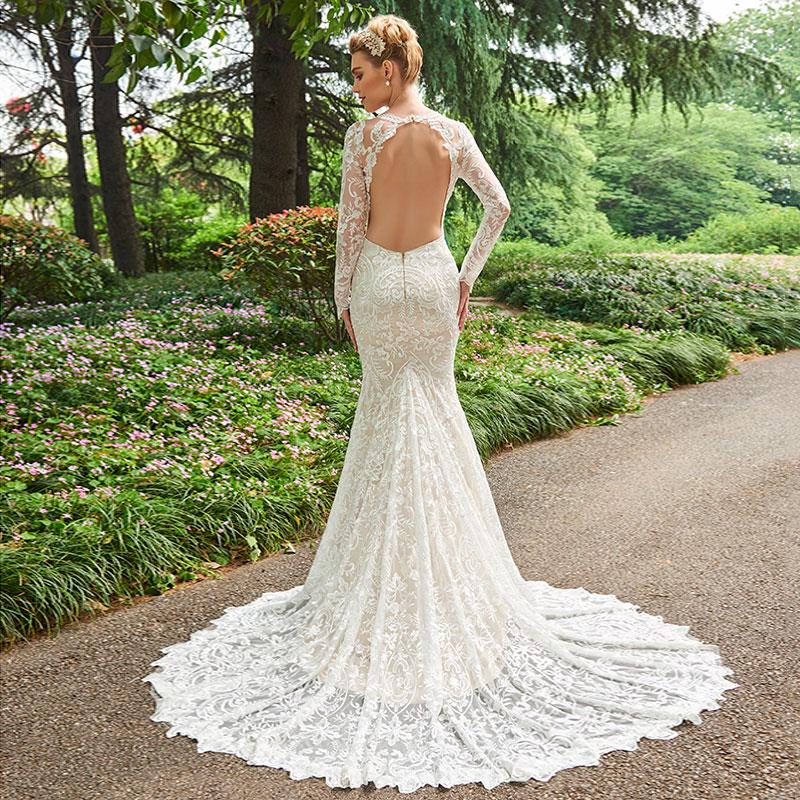 Dressv V Neck Γοργόνα Φόρεμα Γάμου Μακρύ - Γαμήλια φορέματα - Φωτογραφία 3
