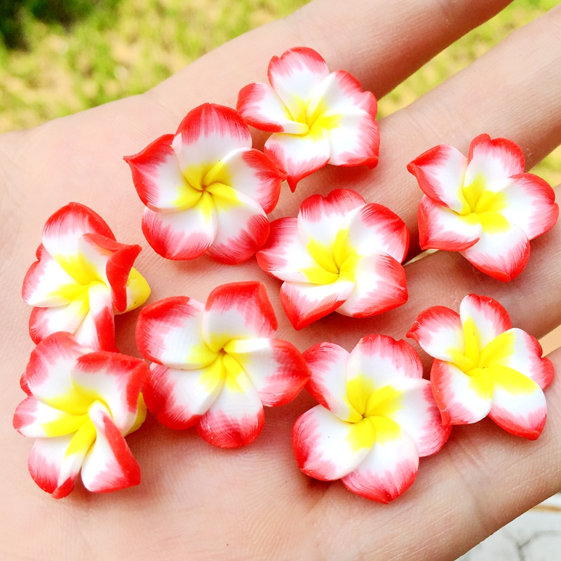 10pcs 19mm Loose 3d Polymer Clay Beads Flower/plumeria Rubra Design For Diy Jewelry Making-b471 Regular Tea Drinking Improves Your Health Arts,crafts & Sewing