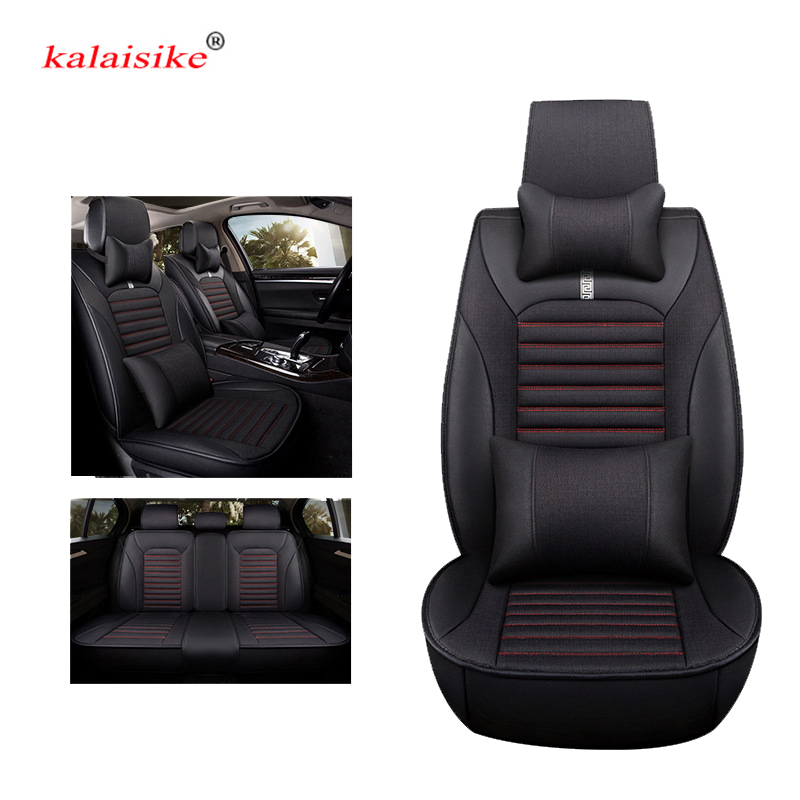 kalaisike leather plus Flax universal car seat covers for SEAT exeo IBL Ateca LEON Toledo arona auto styling car accessories