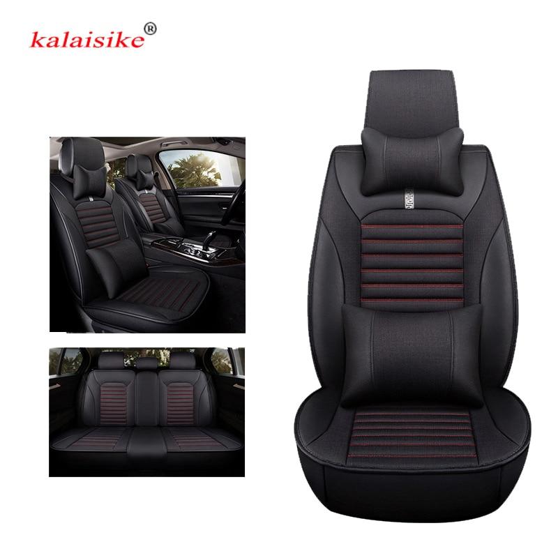 цена на kalaisike leather plus Flax universal car seat covers for SEAT exeo IBL Ateca LEON Toledo arona auto styling car accessories