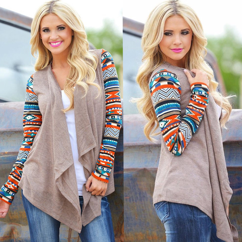 Cardigans Women Aztec Printed Long Sleeve Loose Sweater Tops Autumn Knitted Jacket Coat Female Sweaters Outwear Plus Size 5xl #2