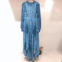 Ретро Винтаж с цветочным принтом платья элегантные платья женские 2019 высокое качество с круглым вырезом платье Брендовое платье Весна