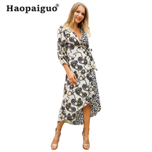 S-XL Plus Size Wrap Contrast Bandage Women Dresses Summer 2019 Sexy Leopard Party Dress Loose Midi Bodycon Black