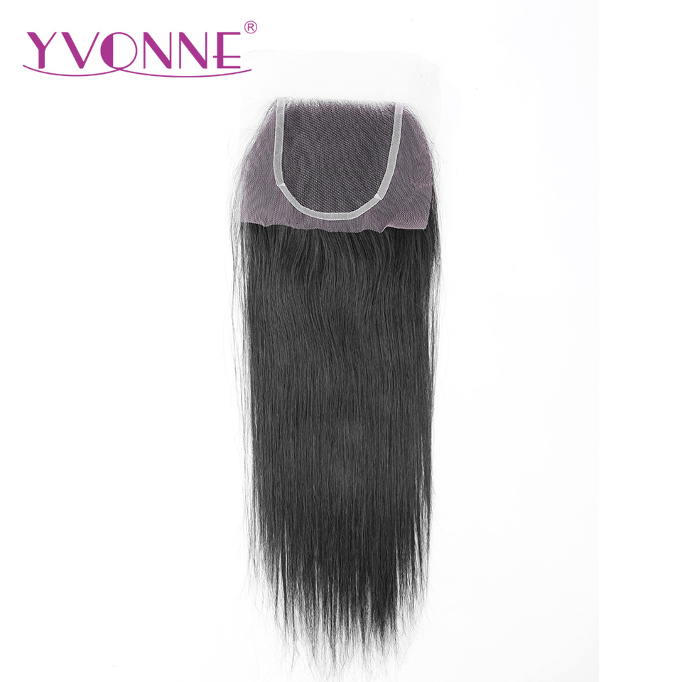 YVONNE Brazilian Straight Virgin font b Hair b font Lace Closure 4x4 Free Part font b