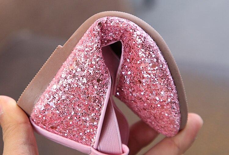 Girls Sparkly Glitter Ballet Flats 6