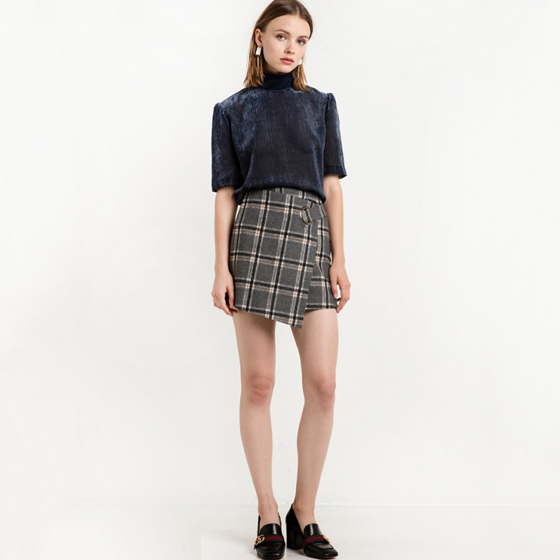 HDY Haoduoyi 2017 Fashion Preppy Style Skirts Women High Waist Female Plaid Mini Skirts Asymmetrical Casual Ladies Skirts 5