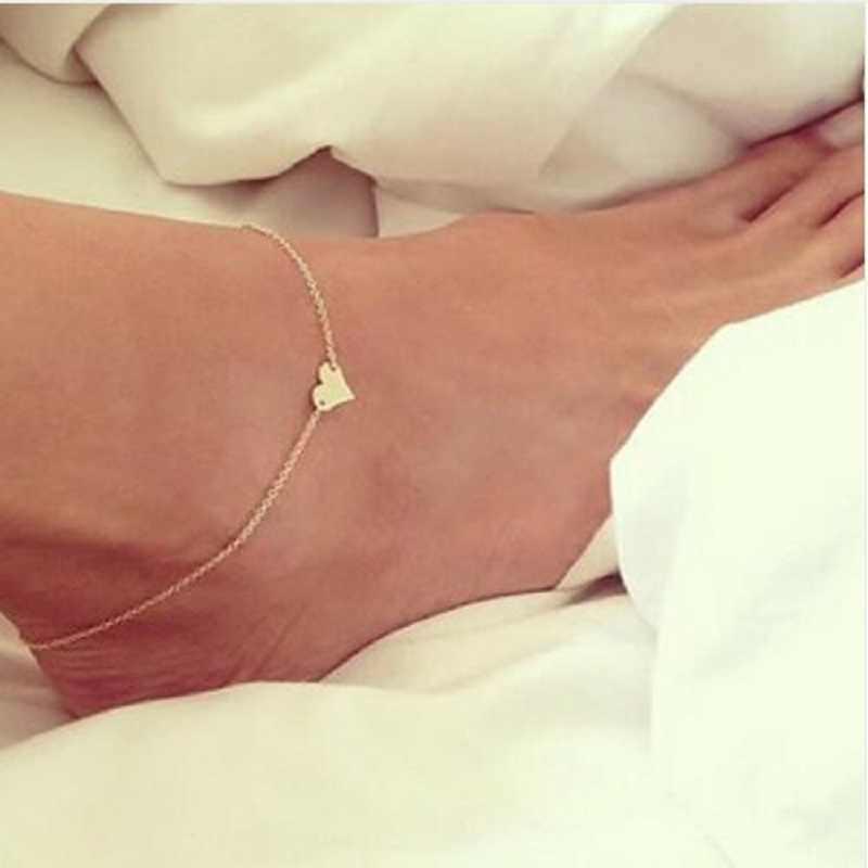ใหม่หัวใจหญิงA Nklets Barefootรองเท้าแตะโครเชต์เครื่องประดับเท้าขาใหม่Ankletsบนเท้าสร้อยข้อมือข้อเท้าสำหรับผู้หญิงโซ่ขา