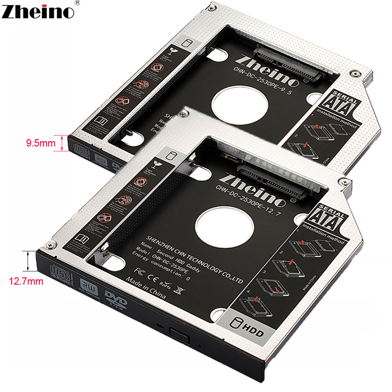 Zheino 9.5mm 12.7mm Aluminum alloy 2nd HDD/SSD Caddy SATA Adapter Case Fit 2.5 SATA HDD SSD For laptop ODD DVD/CD-ROM Optibay zheino sataiii 256gb ssd with aluminum 12 7mm caddy laptop sata ssd hdd frame caddy adapter bay cd dvd rom optical for laptop