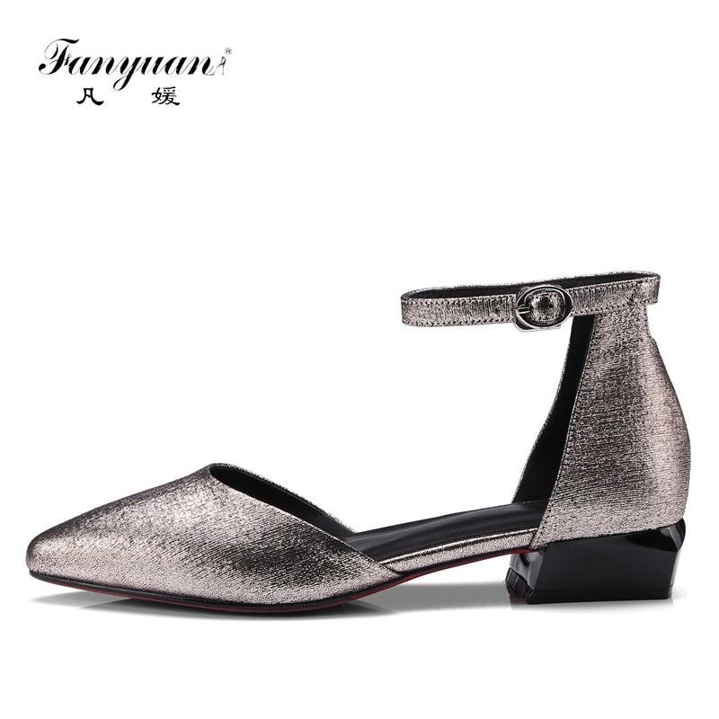 Fanyuan haut de gamme en cuir sandales plates femmes élégant bride à la cheville dames sandalias concis paillettes formelles femmes chaussures d'été or