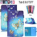 For Samsung Galaxy Tab E 8.0 SM-T377 T377V T375 Case Fashion Flower Butterfly Print PU Leather Tablet Stand Smart Cover wallet
