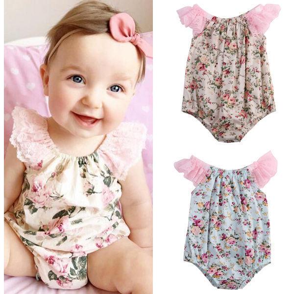 a5ff66e50ca4d Mignon nouveau né bébé fille vêtements barboteuses dentelle Floral  barboteuse combinaison tenues Sunsuit 0 24 mois livraison directe en gros  dans ...