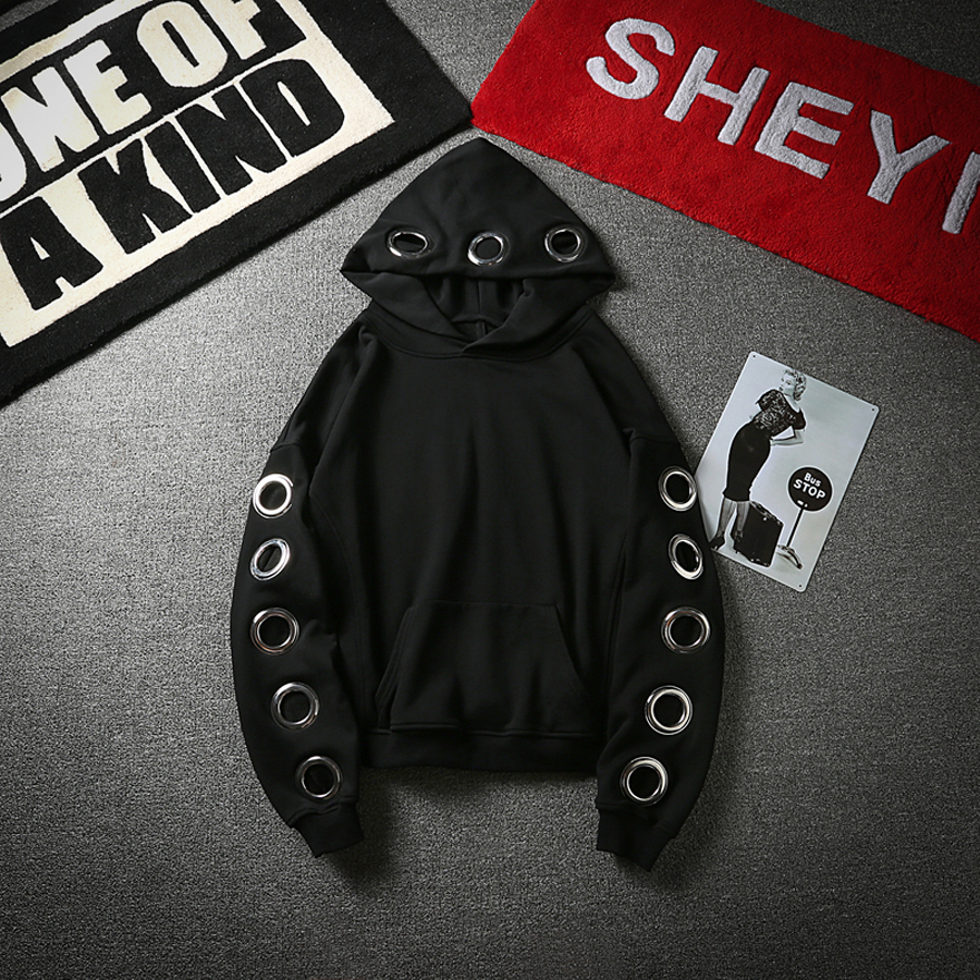 125ba241e9c Creative Design Hollow Metal Buckle Hip Hop Hoodies Men Lover s Punk Rock  Sweatshirts Long Sleeve Loose