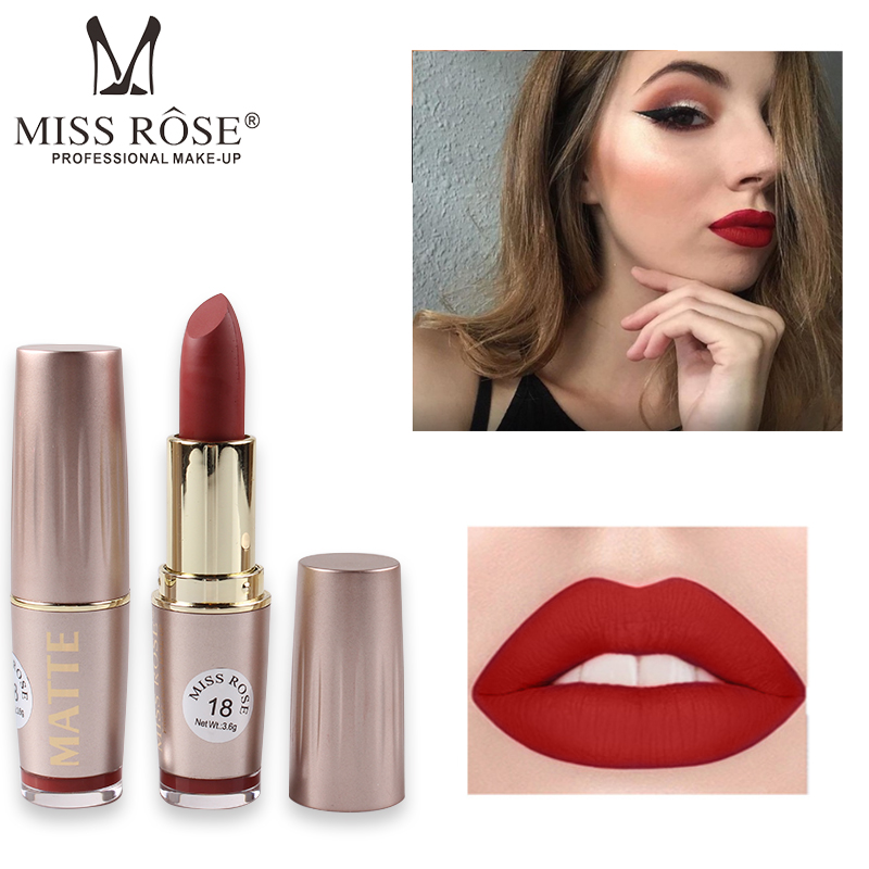 MISS ROSE Brand Professional Matte Lipstick Waterproof Makeup Matte Batom Lip Stick Sexy Red Color rouge a levre mat Lipstick image