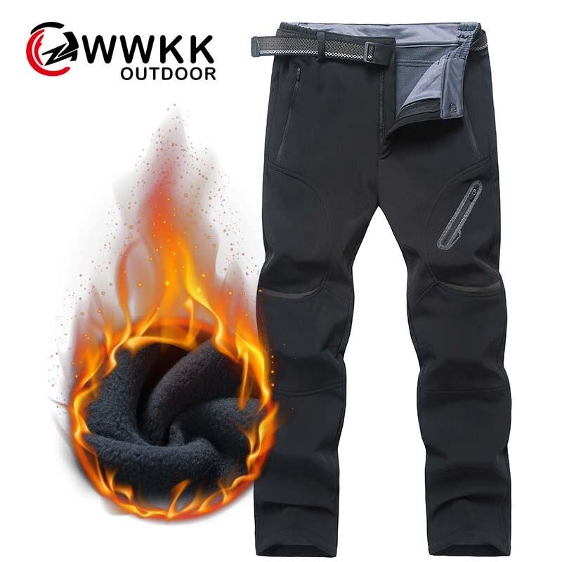 WWKK зимние мужские водонепроницаемые походные флисовые уличные Походные штаны для походов, походов, рыбок, лыж, софтшелл, утолщенные брюки б...